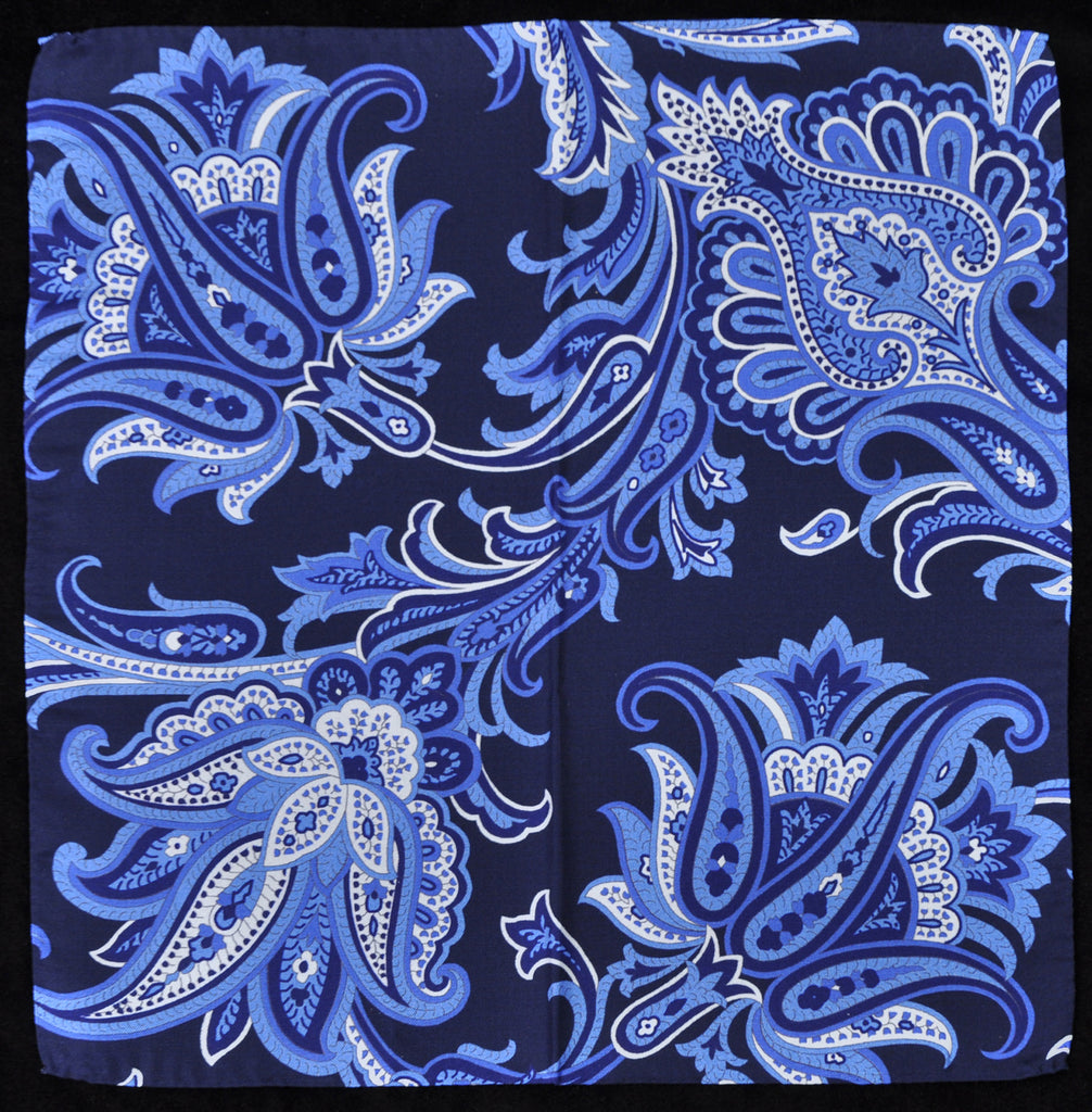A.Kabbaz-J.Kelly Hand Rolled Italian Silk Pocket Square - Blue Floral 116