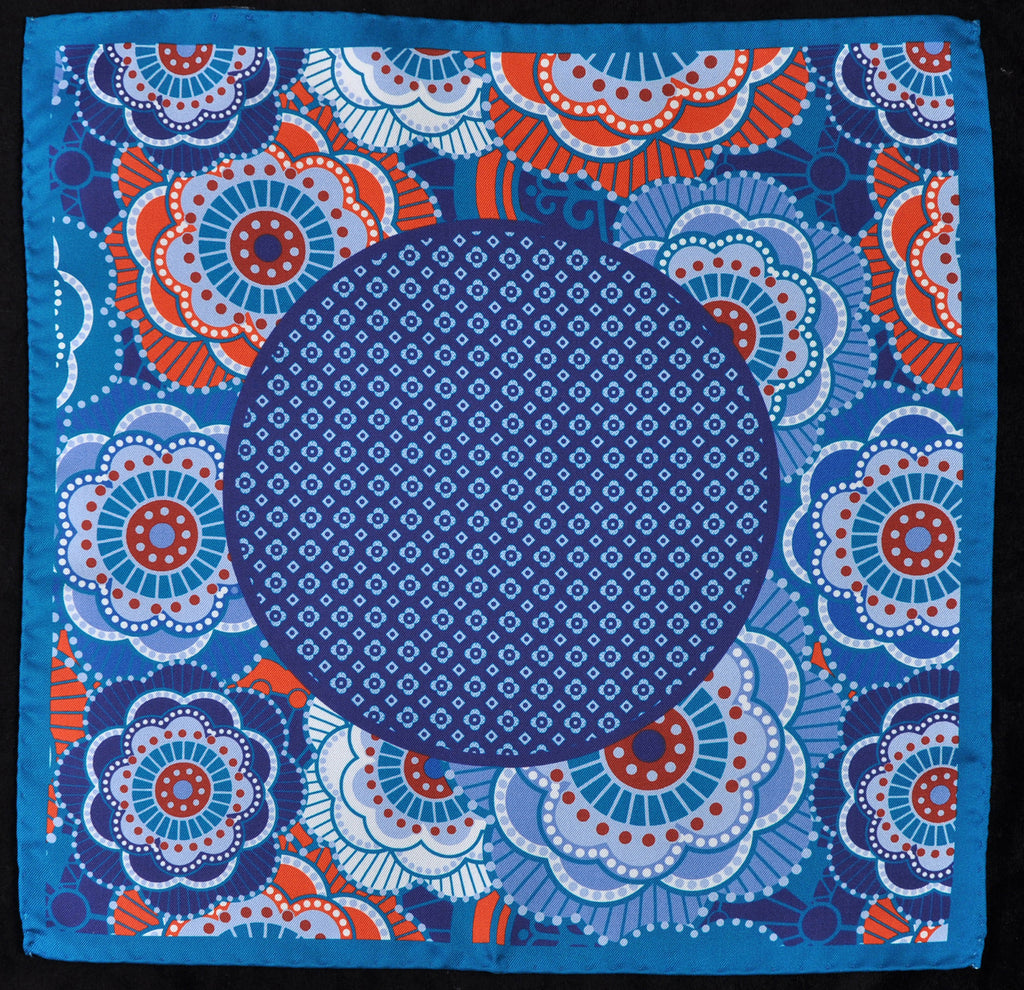 A.Kabbaz-J.Kelly Hand Rolled Italian Silk Pocket Square - Blue Skies 117