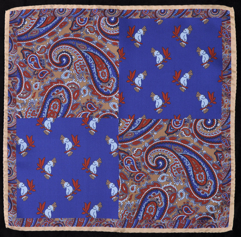 A.Kabbaz-J.Kelly Hand Rolled Italian Silk Pocket Square - Paisley and Parrots in Blue 122