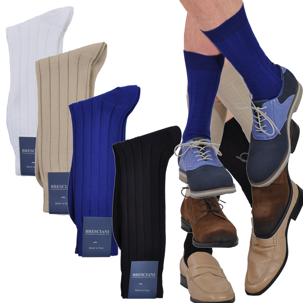 Pure ExtraFine Pima Cotton Mid-Calf Casual Rib Crew Socks