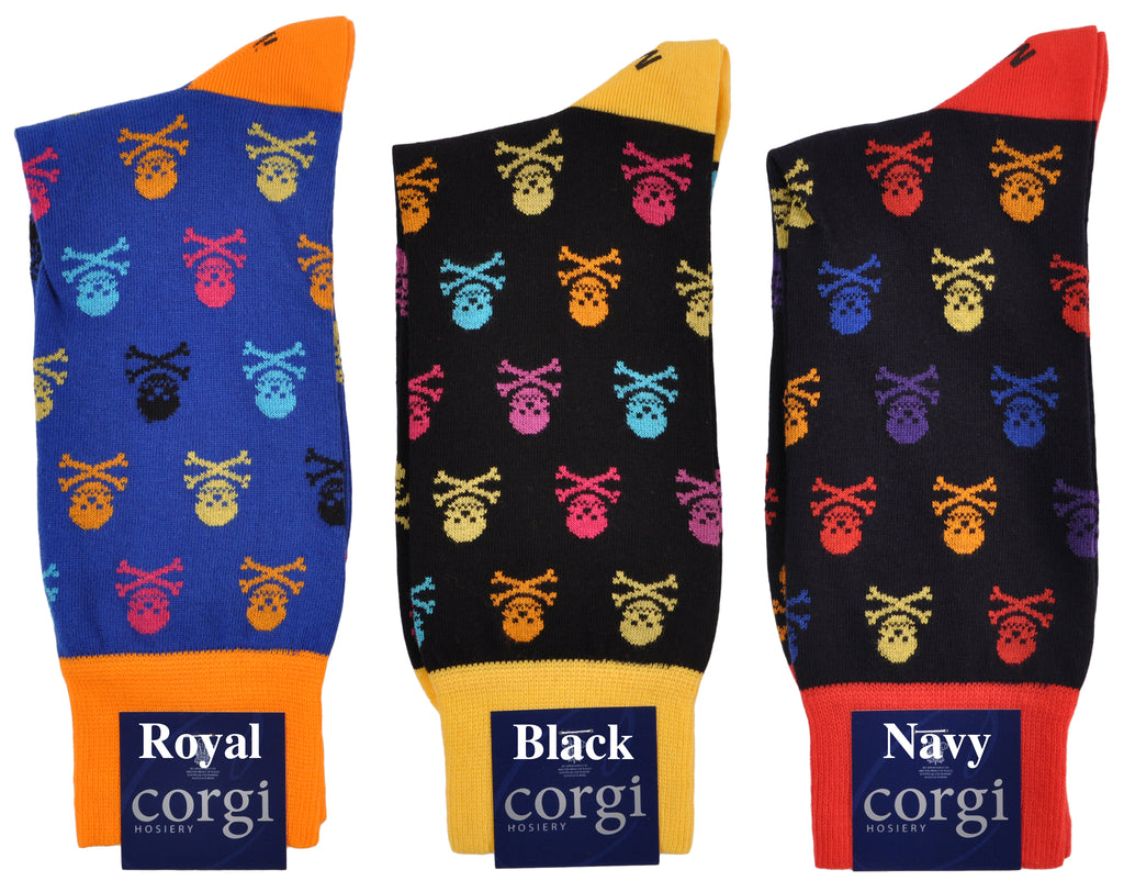 Jolly Roger Skull & Crossbones Mid-Calf Cotton Fun Socks