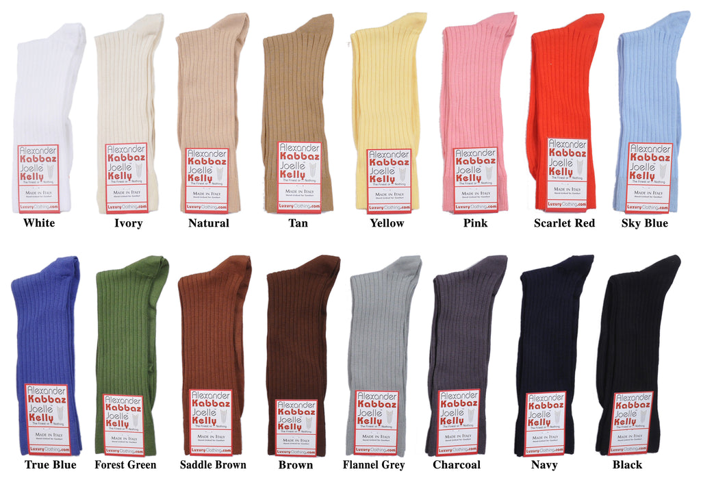 A Kabbaz-Kelly Exclusive: ExtraFine Two-Ply Egyptian Cotton Mid-Calf Socks
