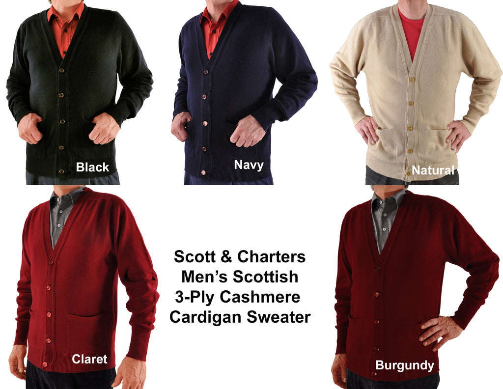 Men's Scottish Cashmere Cardigan Sweater