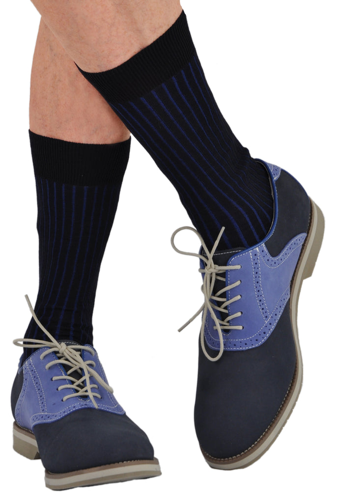 Navy/Royal shown in Mid-Calf as a Casual Sock