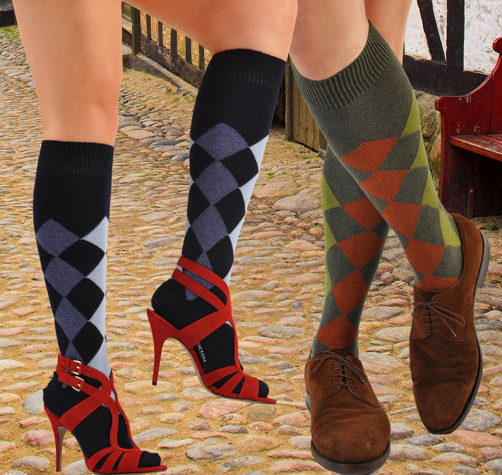Bresciani Pure Cashmere Harlequin Over-the-Calf/Knee-High Socks
