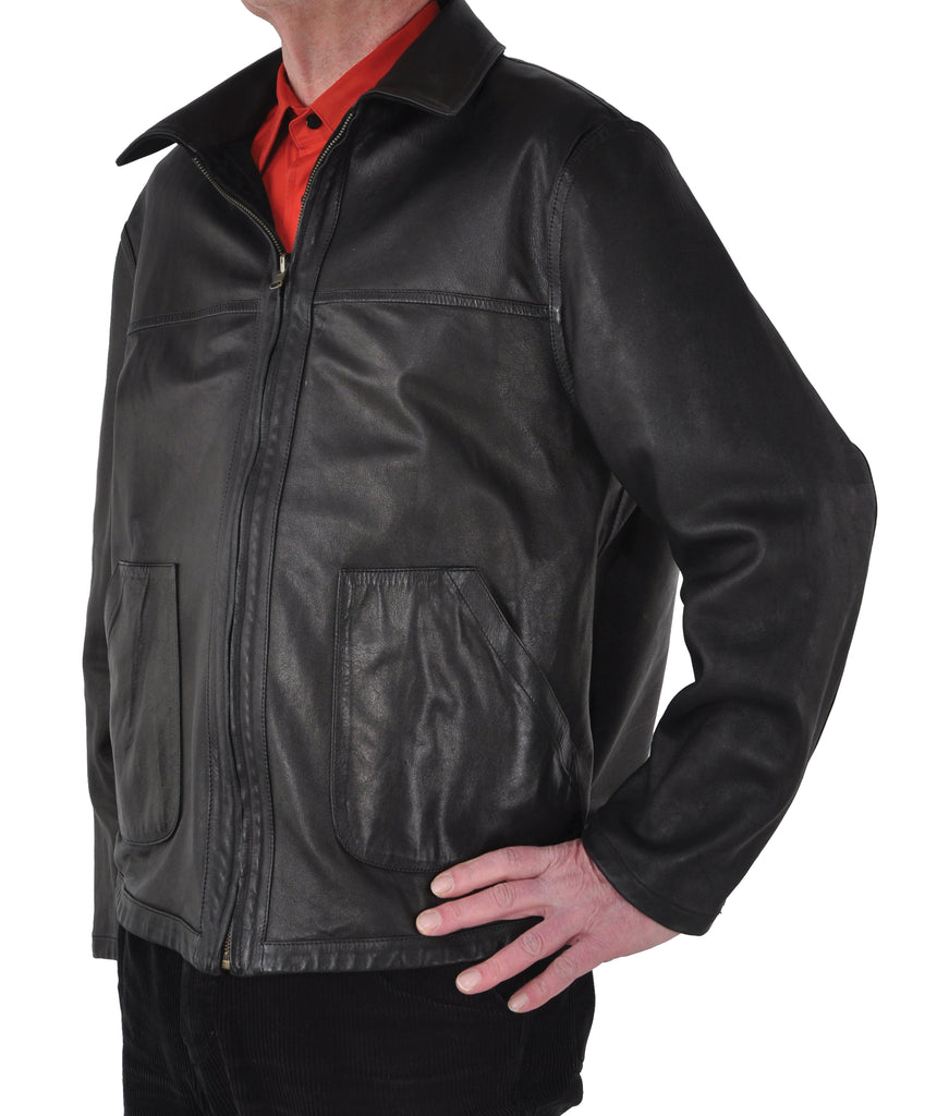 Patch Pocket <em>Classic</em> Men's Bespoke Zip Front Lambskin Jacket
