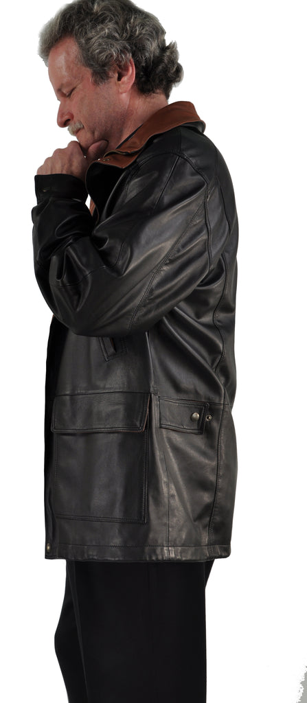 <em>Damien</em> Contrast Trim Men's Bespoke Lambskin Car Coat