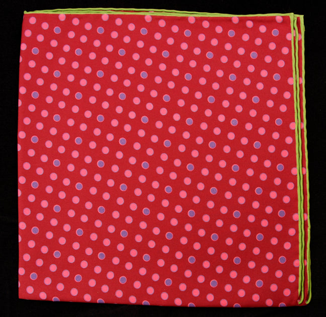 Hand Rolled English Silk Pocket Square - Wine Dots