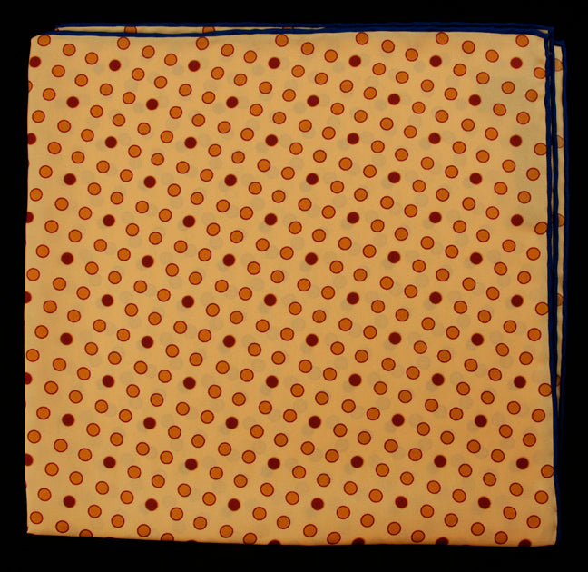 Hand Rolled English Silk Pocket Square - Gold Dots