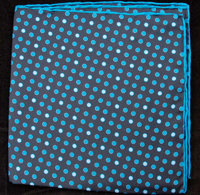 Hand Rolled English Silk Pocket Square - Blue Dots