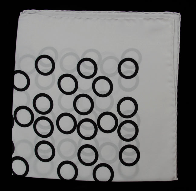 Hand Rolled English Silk Pocket Square - White with Black Circles