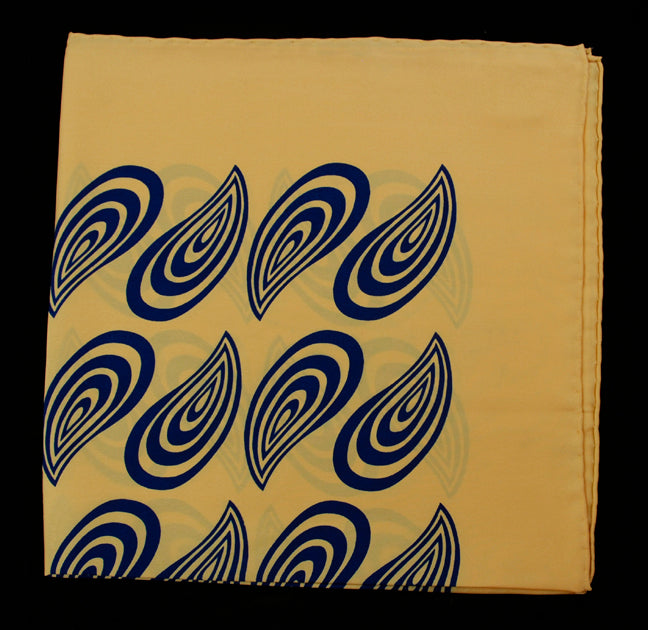 Hand Rolled English Silk Pocket Square - Yellow & Navy Paisley