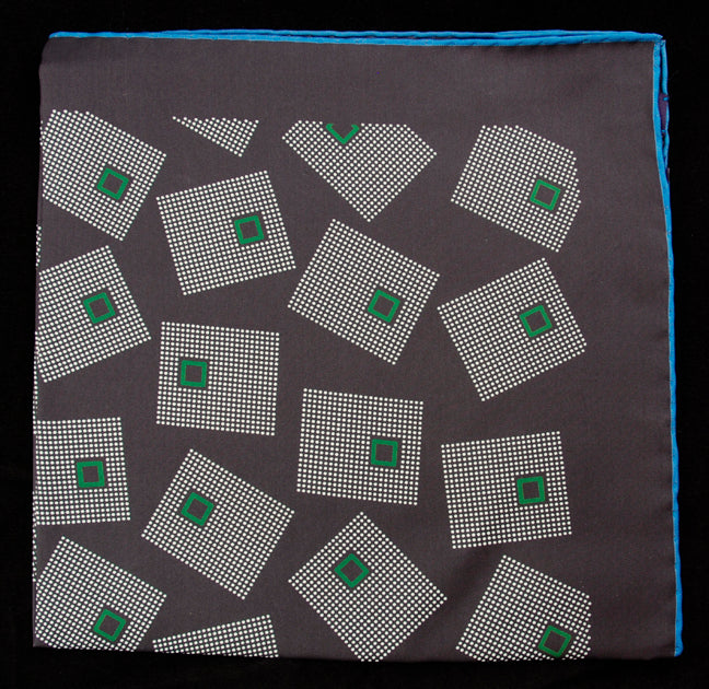 Hand Rolled English Silk Pocket Square - Grey Squares