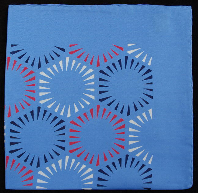 Hand Rolled English Silk Pocket Square - Blue Starburst