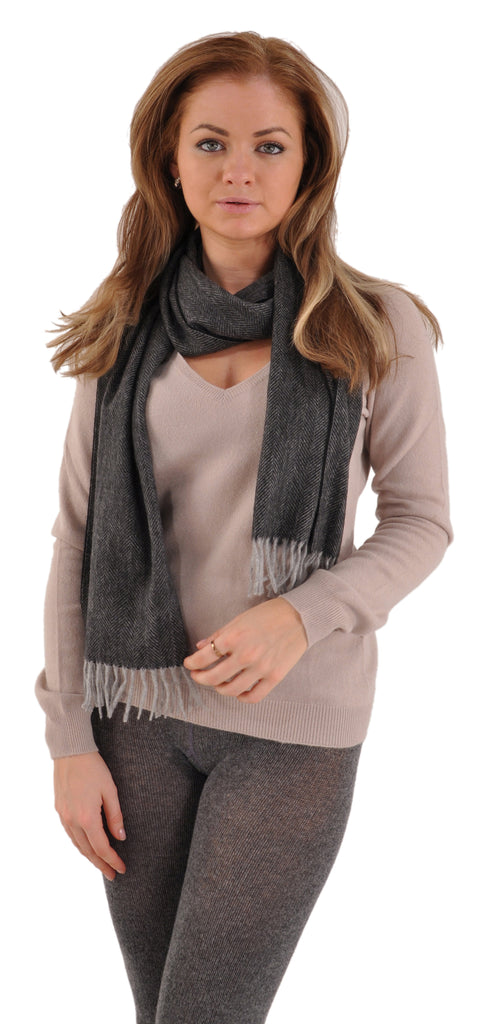 Pria Pure Luxury Cashmere Herringbone Striped Scarf