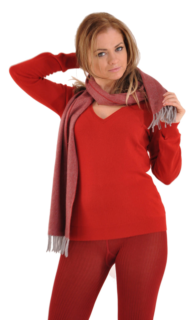 Red, shown with our Bresciani Cashmere Silk Tights and Gran Sasso Cashmere Sweater