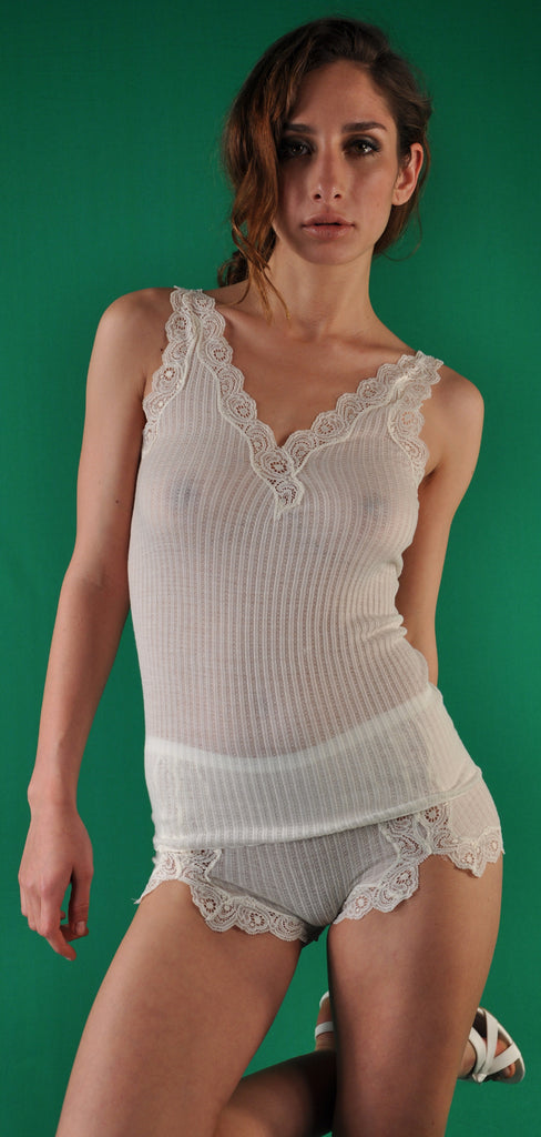 Limited Lace Edition  Silk and Wool Spaghetti Top
