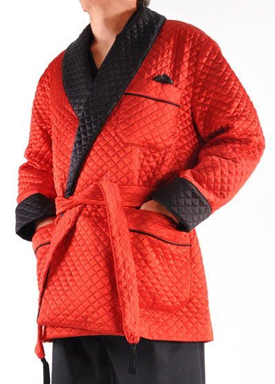 Pure Italian Silk Quilted Smoking Jacket