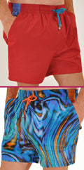 Men's Cotton Boxer Style Drawstring Elastic Waist Swim Trunks
