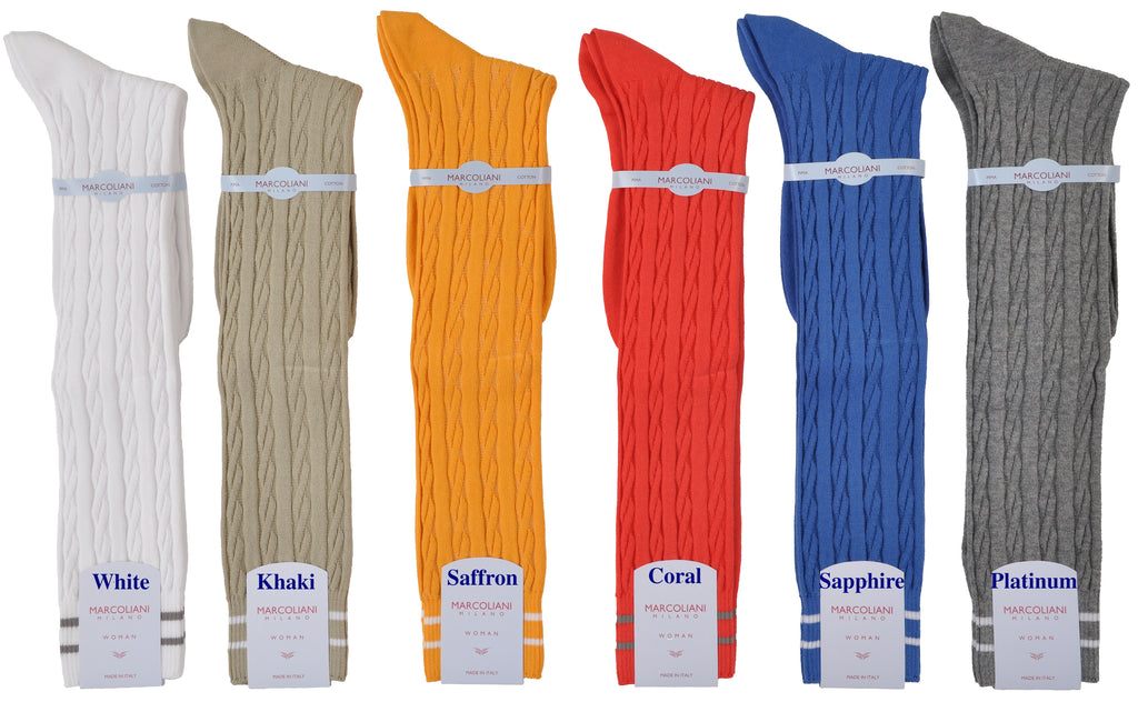 Knee-High Soft-Cushion Pima Cotton Cableknit Sock
