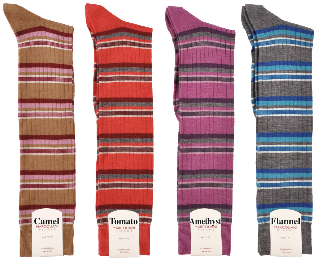 RARE LIMITED EDITION Knee-High Cashmere & Silk Socks Chic Fashion Stripe