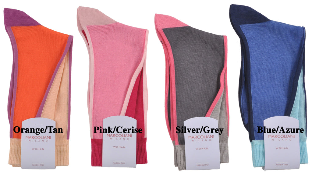 Soft Cotton Ankle Length In-and-Out Two-Color Contrast Socks