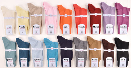 UltraFine Cashmere & Silk Ribbed Ankle/Trouser Socks