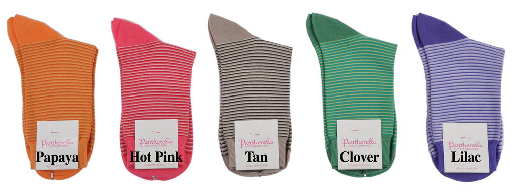 Pantherella Soft Cotton Trouser Length Shadow Stripe Socks