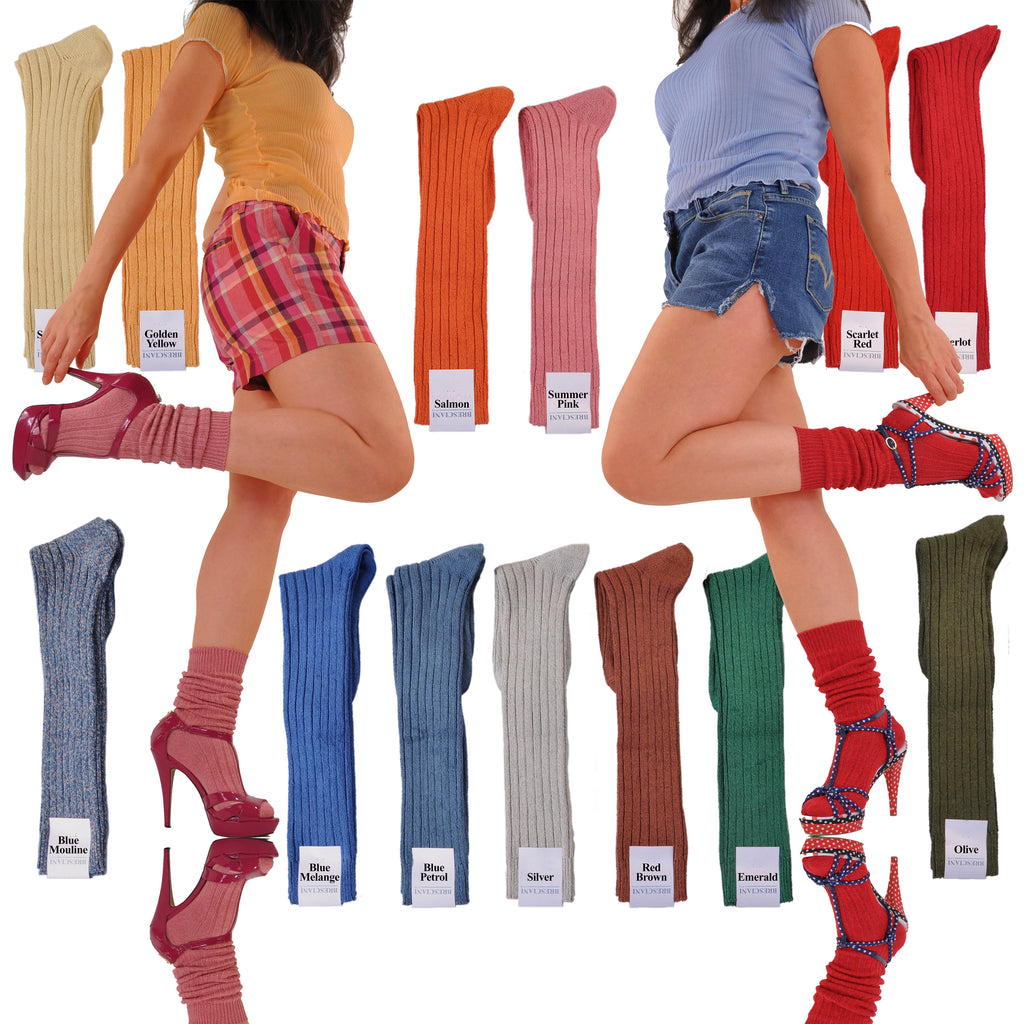 Limited Edition Women's Silk/Linen Scrunchable Knee-High Socks