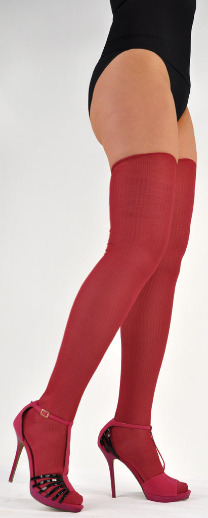 Rare Pure Silk Fantasie Rib Semi-Sheer Thigh-Highs