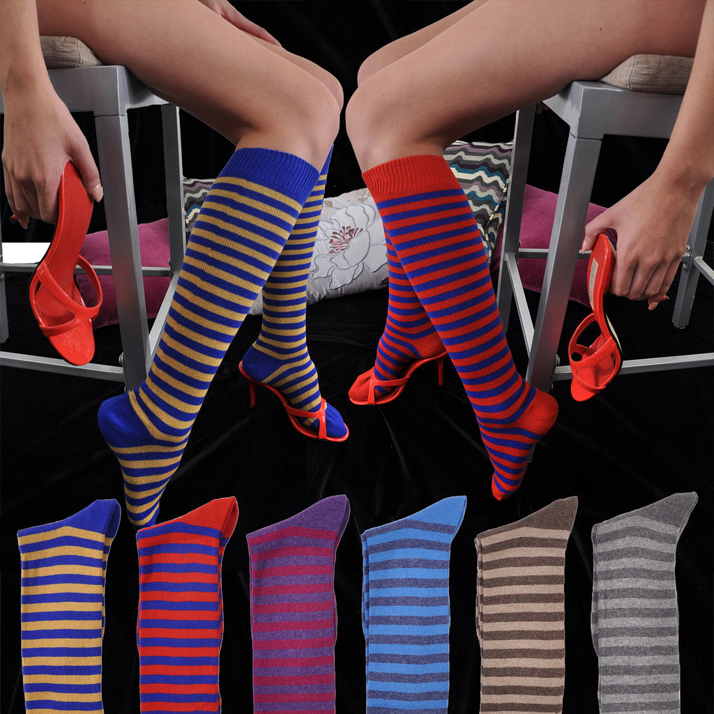 Cashmere Sizzlin' Hot Stripes Joelle Kelly Design Knee-High Socks
