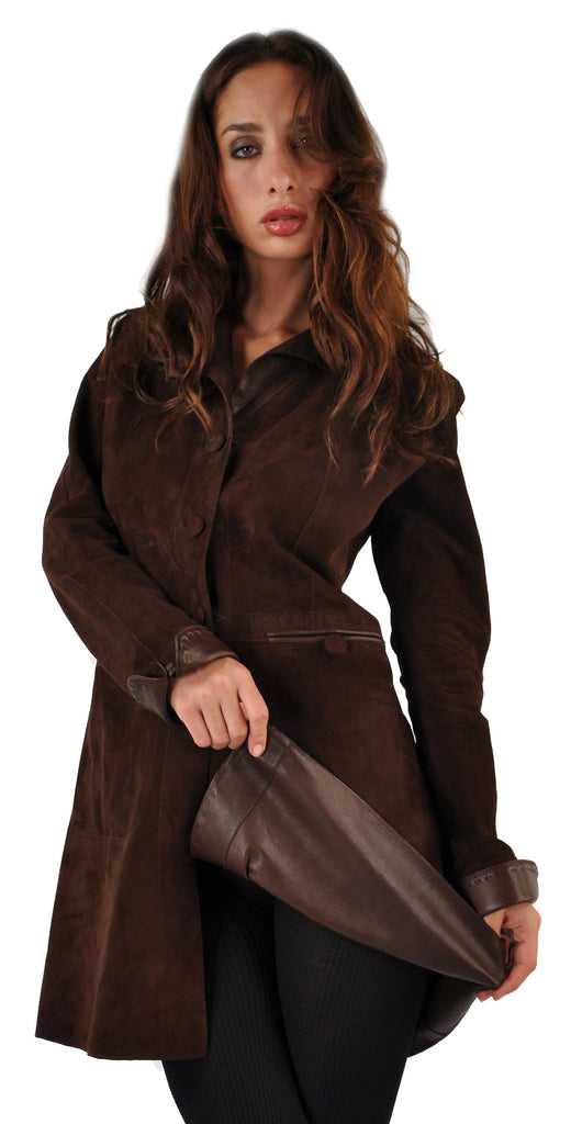Reversible <em>Sarah</em> Women's Bespoke Lambskin Contemporary Nehru Travel Coat