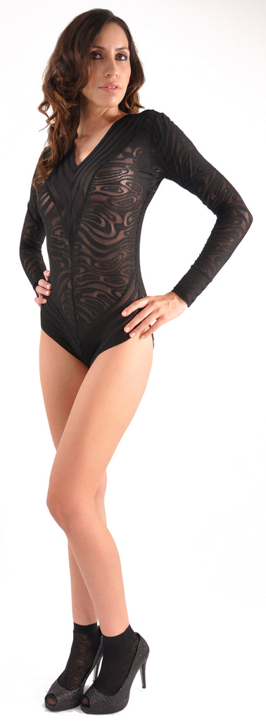 Pureness Couture Black Moire BodySuit