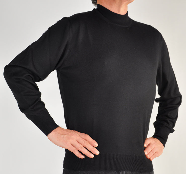 Italian ExtraFine Merino Wool Mock Turtleneck Sweater