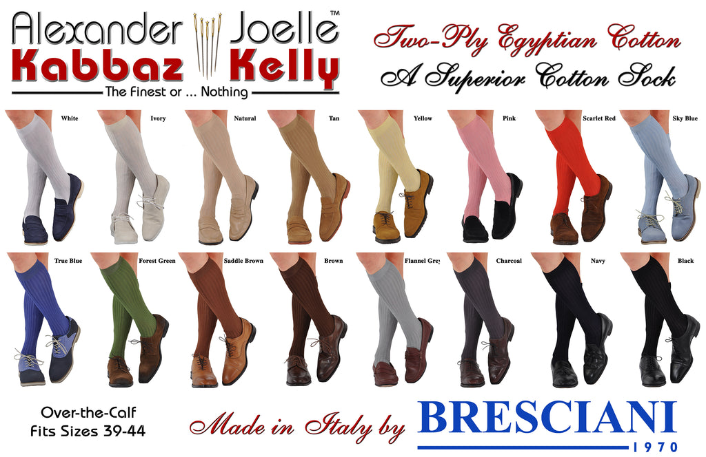 A Kabbaz-Kelly Exclusive: ExtraFine Two-Ply Egyptian Cotton Over-the-Calf Socks
