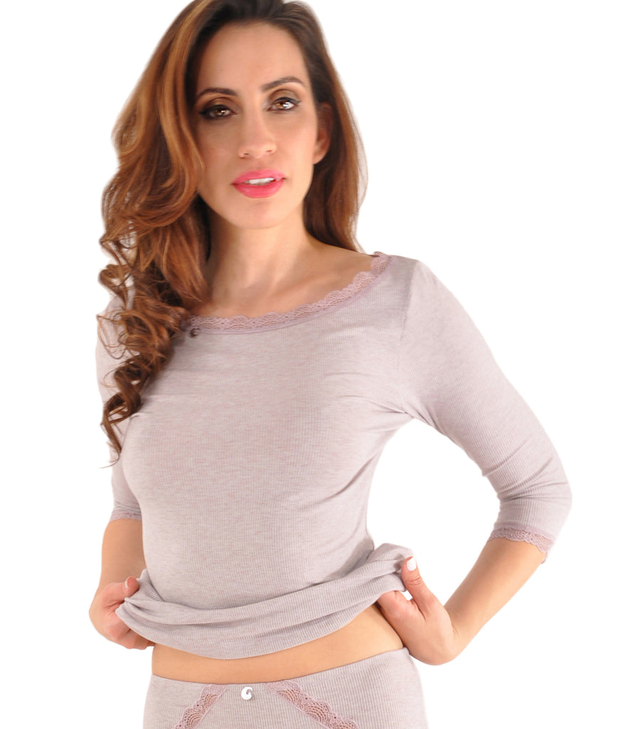 A.Kabbaz-J.Kelly Pure Temptation Cashmere and Micromodal 3/4 Sleeve Top - Made in Italy