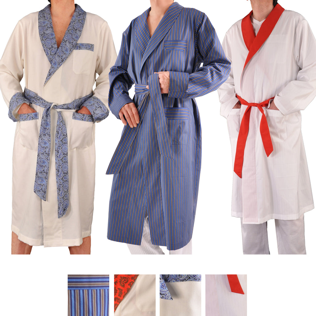 Kabbaz-Kelly Hand-Made Swiss Cotton Poplin Shawl Collar Men's Robe