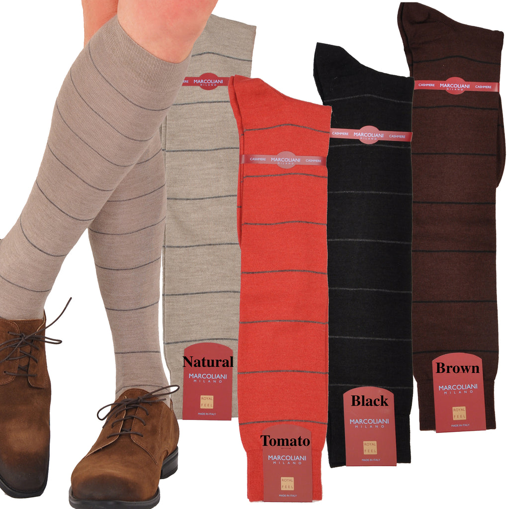 Cashmere & Silk Striped Over-the-Calf Socks - Exclusive