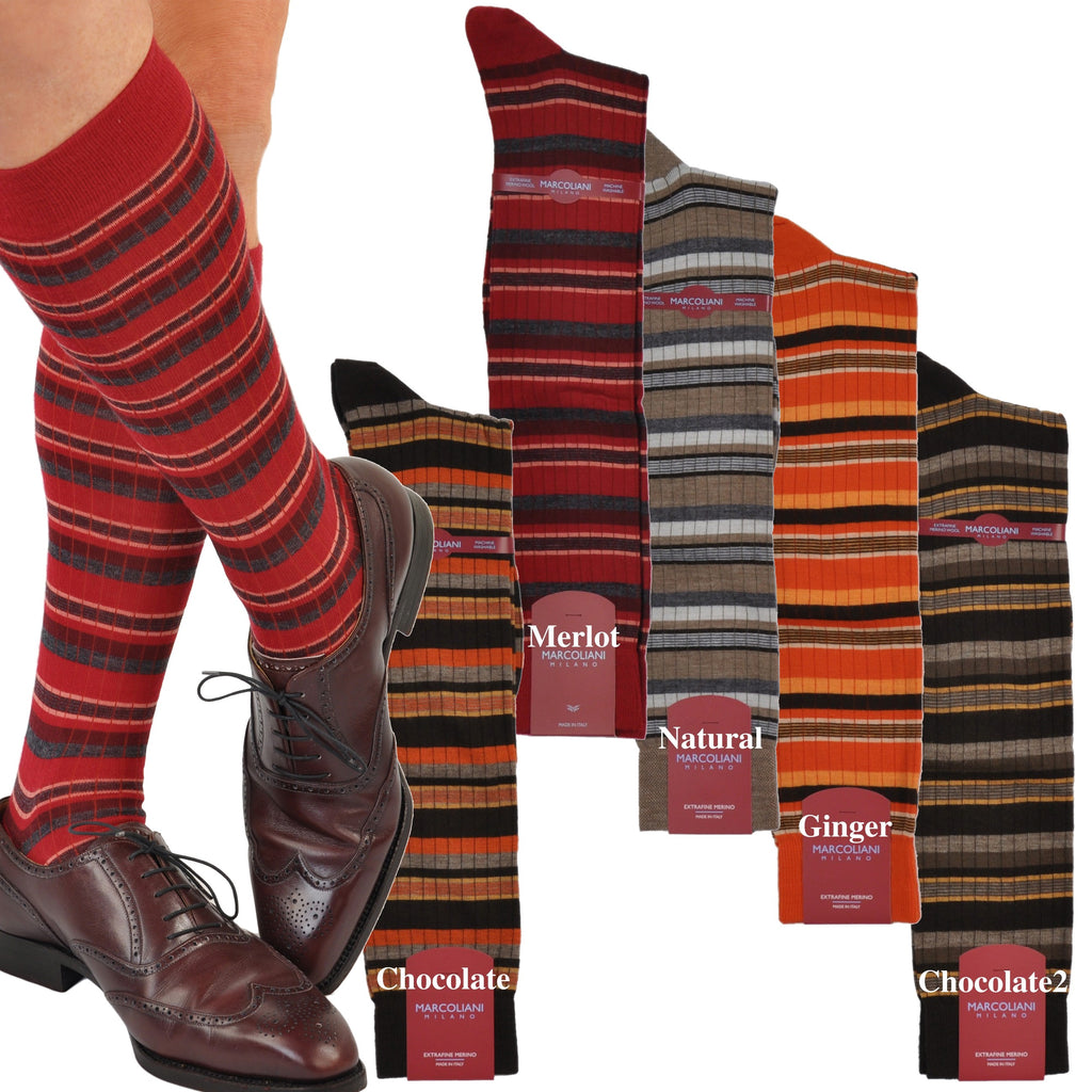 ExtraFine Merino Over-the-Calf Multi-Stripe Dress Socks