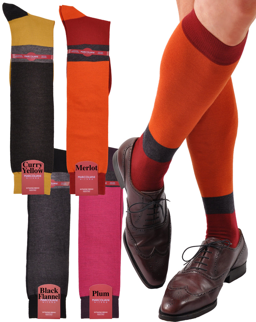 ExtraFine Merino Color Block Horizontal Stripe Over-the-Calf Socks