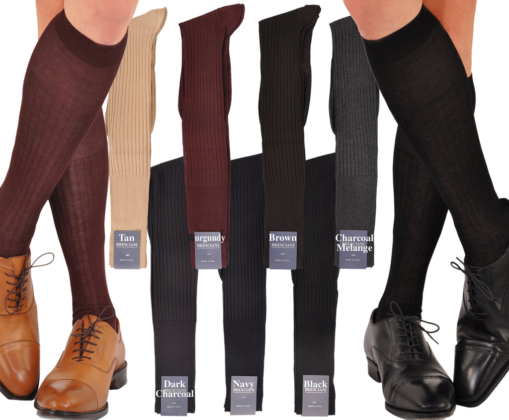 Bresciani Pure Egyptian Cotton Lisle Ribbed Dress Socks - Made in Italy