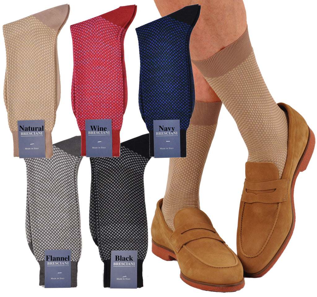 Classic and Elegant Mini-Squares Mid-Calf Cotton Dress Socks