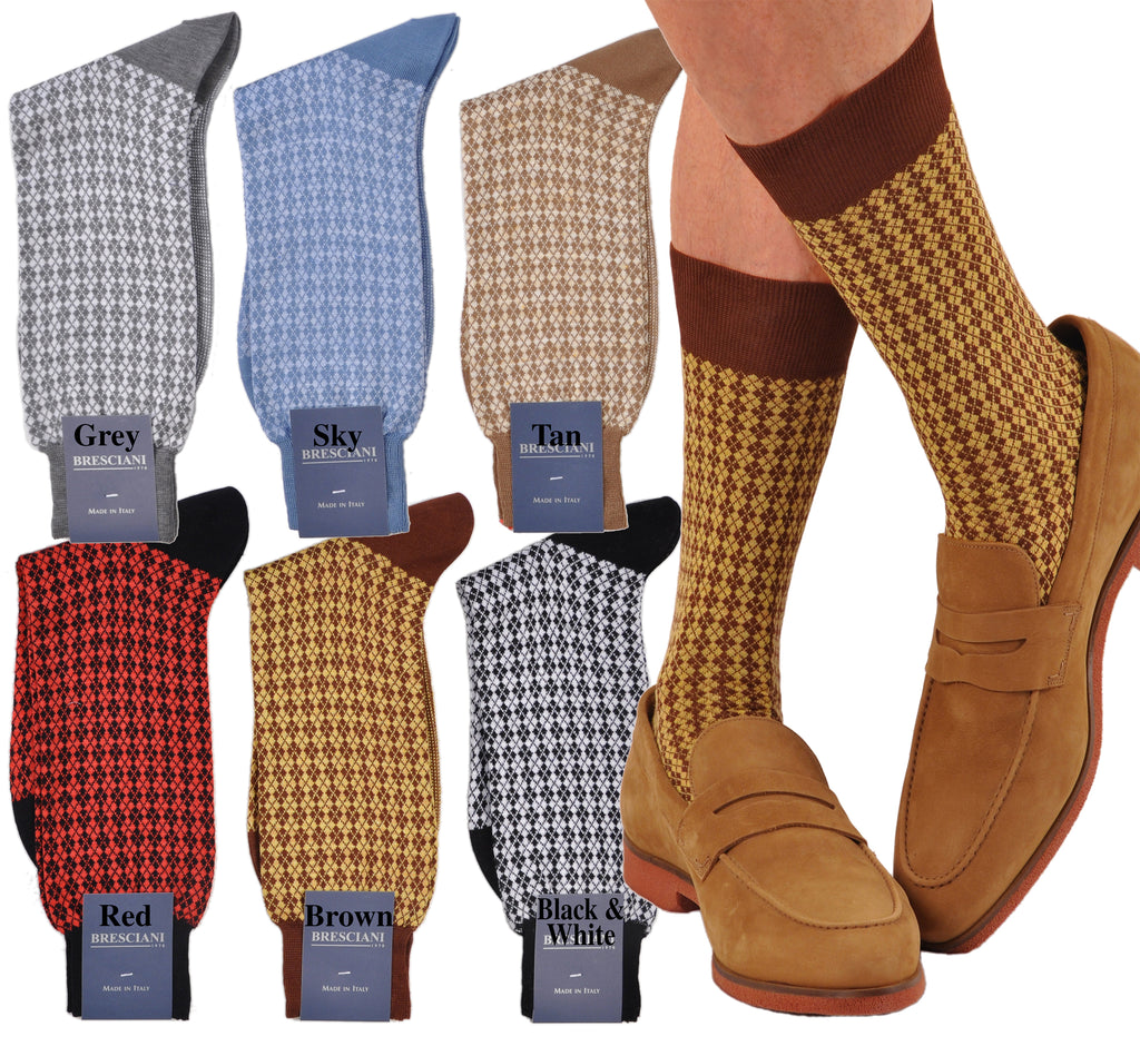 Argyle: Cool-wearing Cotton & Linen Casual Mini-Argyle Mid-Calf Socks