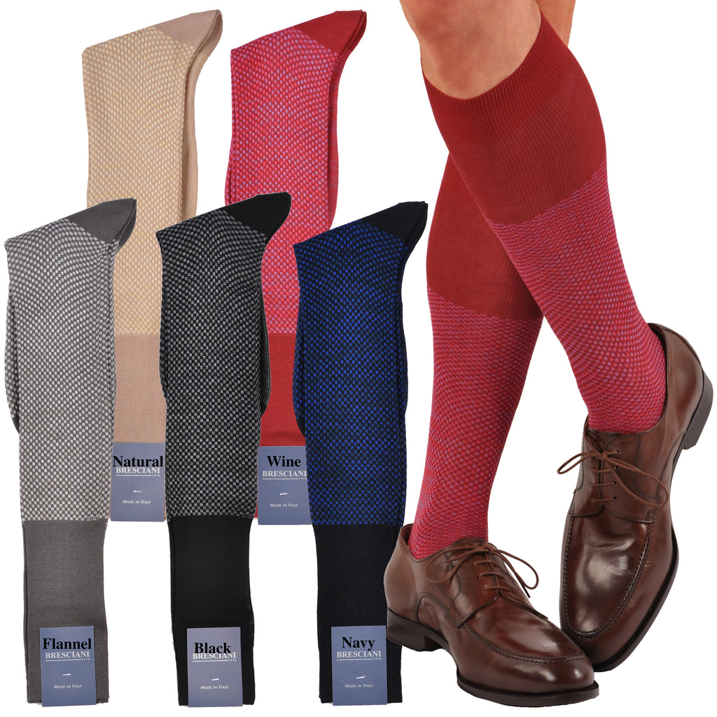 Classic and Elegant Mini-Squares Over-the-Calf Cotton Dress Socks
