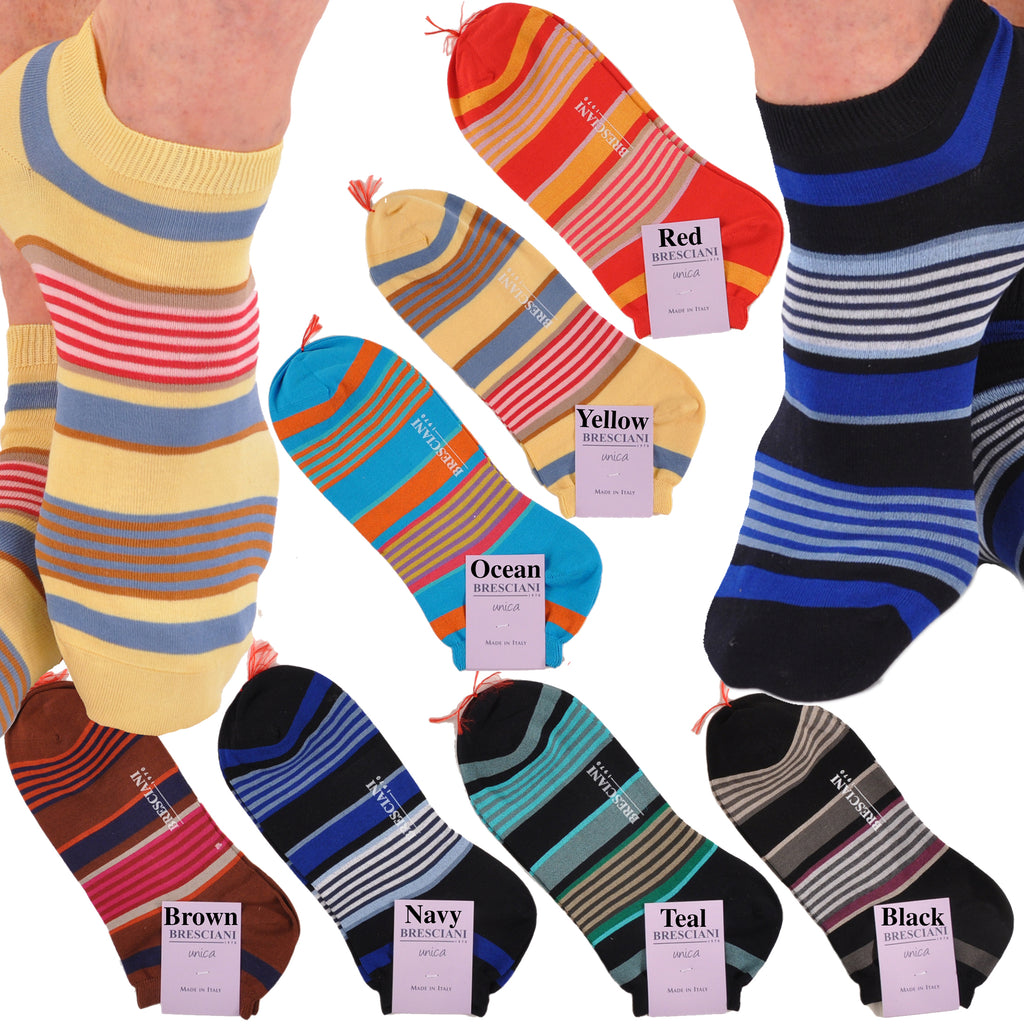 Lake Como Beach Shorty/Trainer Horizontal Multi-Stripe Socks