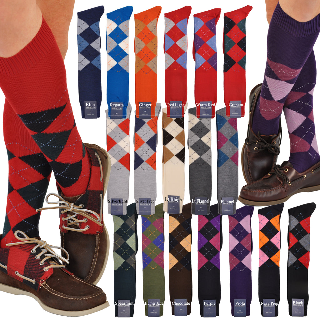 Argyles: Stunning ExtraFine Merino Over-the-Calf Argyle Socks