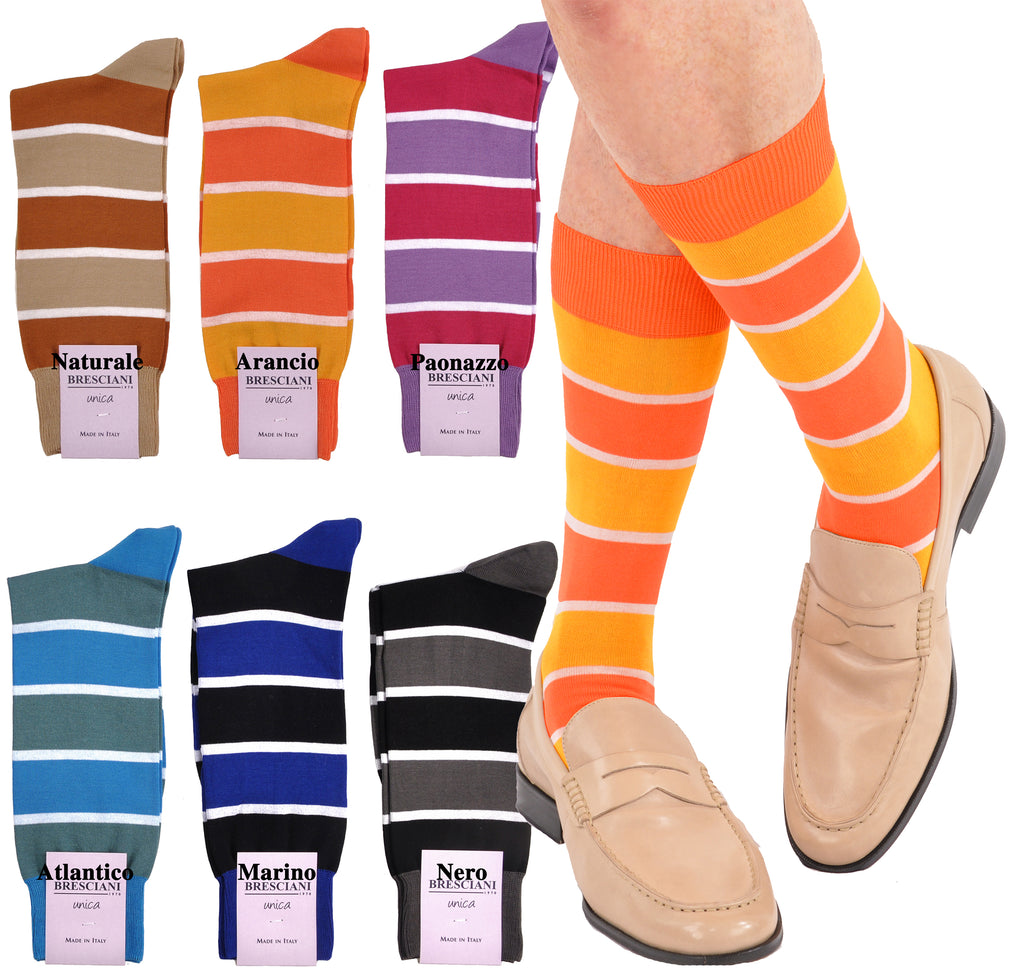 Sophisticated Bold Stripe Cotton Mid-Calf Socks