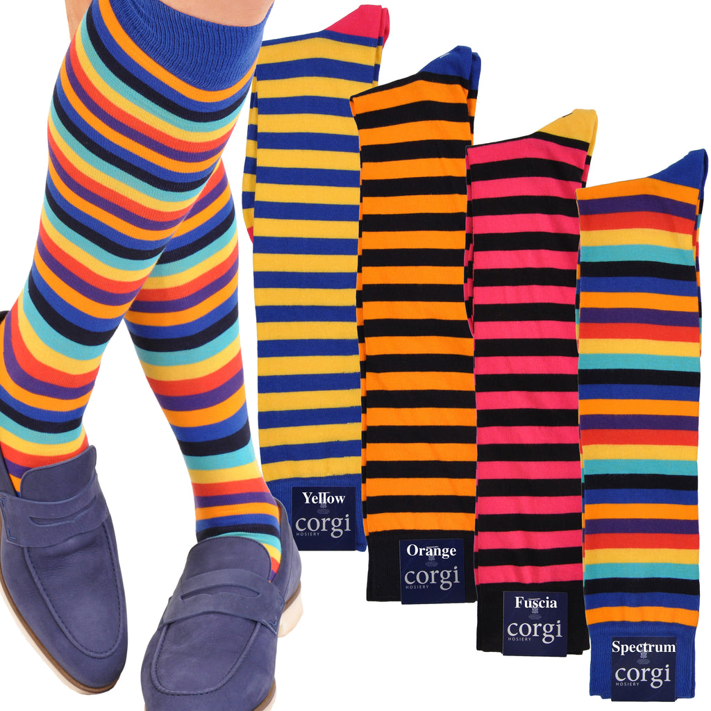 Bold Colorful Block Stripe Over-the-Calf Socks