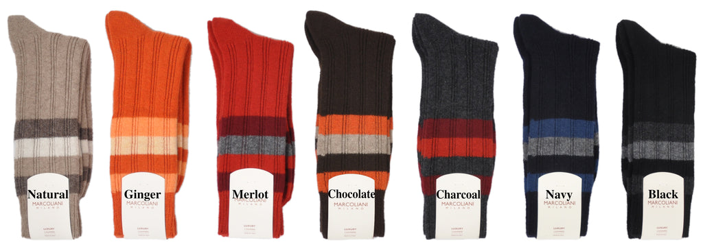 Mid-Calf Fun Stripes Cashmere Socks