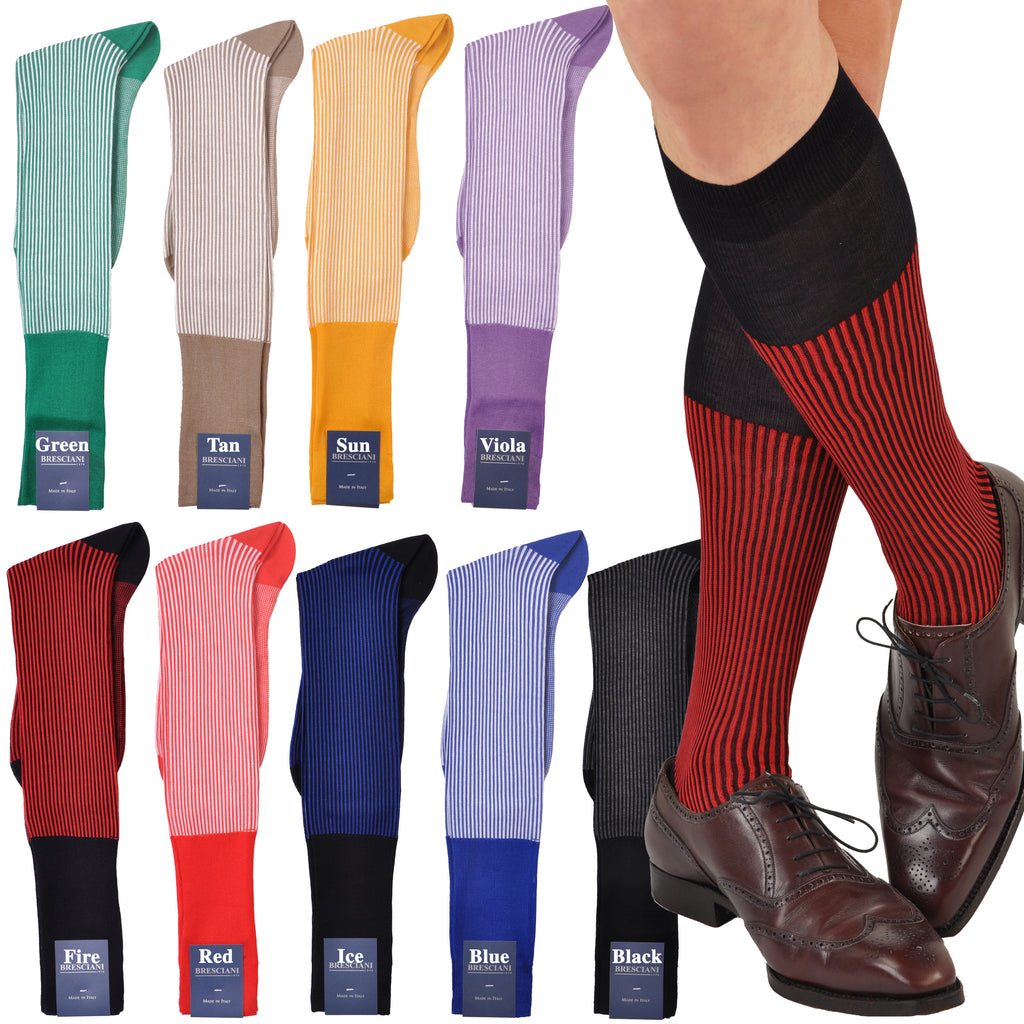 Compelling Retro Vertical Dress Stripe Over-the-Calf Cotton Socks